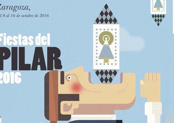 """Cartel Fiesta El Pilar en Zaragoza 2016"""